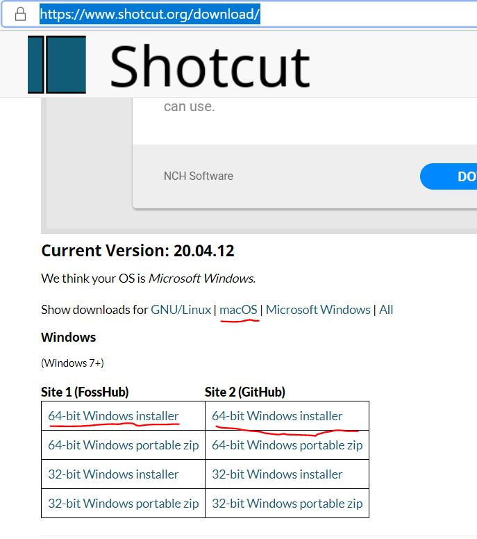 Shotcut download page